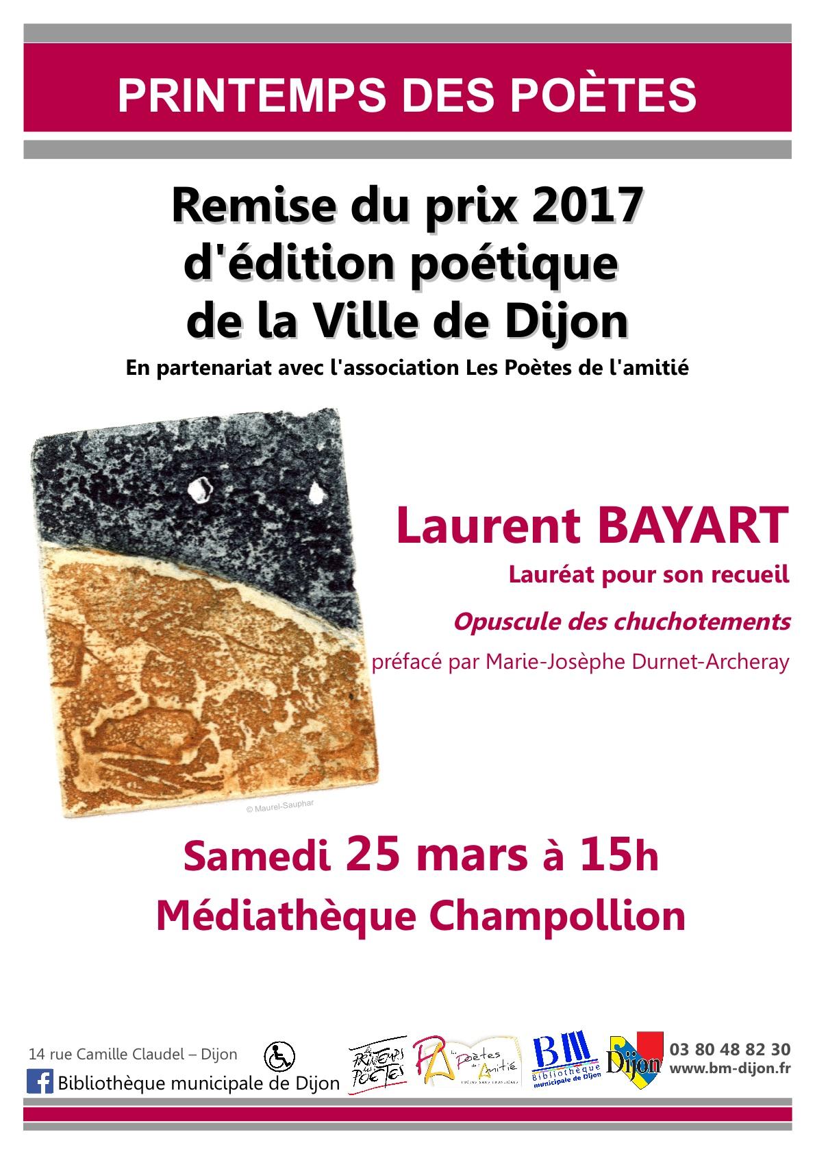 Remise du prix 2017 de l edition poetique de la ville de for Prix du m2 a dijon